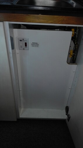 Gas Water heater fitted into a motorhome