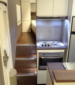 LED Lighting throughout caravan kitchen and bedroom
