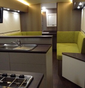 LED lighting in caravan entertainment area and bathroom