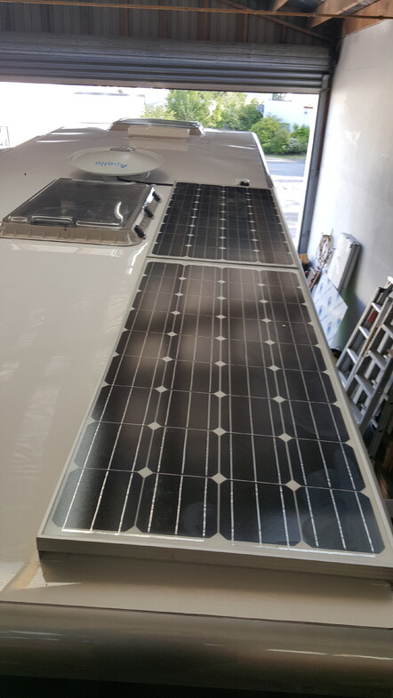 12volt solar and automatic satellite dish on Caravan